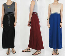 1 NEW MAXI LONG two tone DRESS casual super comfy 100% Cotton Knit Waist String