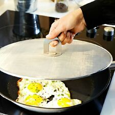 Stainless Steel Frying Pan Splatter Screen with Folding Handle Oil Proofing
