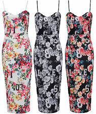 Womens Ladies Multi Colour Floral Print Strappy Bodycon Midi Party Dress UK 8-14