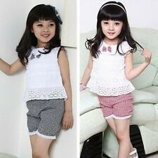 2PCS Sets Baby Girls Clothing Hollow Out Top&Shorts Infant Toddlers Outfits New