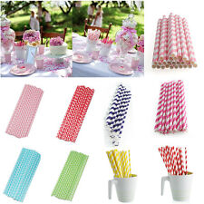 New 25*Muliti Color Biodegradable Paper Drinking Straws Party Wedding Decoration