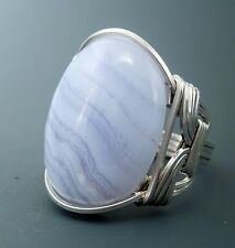 Large Sterling Silver Blue Lace Agate Cabochon Wire Wrapped Ring