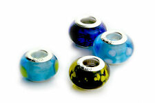 Lampwork Murano Glass Bead 925 Stamped fit Snake Charm Bracelet   2 Spacer Beads