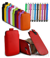Pull Tab PU Leather Mobile Phone Case Skin Cover Slide in case with Stylus Pen