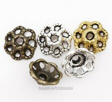 100pcs Antique Silver/Gold/Bronze Color Flower Shaped Zinc Alloy Bead Cap 9mm