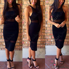 Womens Sheer Mesh Long Midi Pencil Bodycon Cocktail Evening Party Boutique Dress