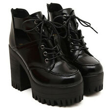 Ladies Chunky Heels Thick Sole Platform Lace Up Ankle Sandals Cut Off Boots Shoe