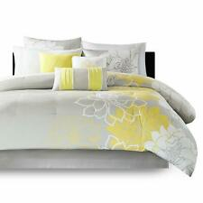 BEAUTIFUL SOFT COTTON CONTEMPORARY YELLOW WHITE GREY CHIC FLOWER COMFORTER SET