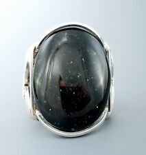 Large Sterling Silver Green Goldstone Cabochon Wire Wrapped Ring