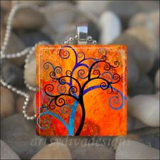 """CURLY BRANCH TREE"" WHIMSICAL TREES GLASS TILE PENDANT NECKLACE KEYRING"
