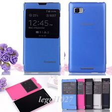 Fashion Window Flip PU Leather and PC Cover Skin Case For Lenovo VIBE Z K910