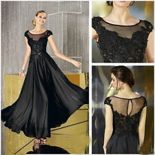 New Long Black Sleeveless Chiffon Bridesmaid Evening Formal party Ball Gown
