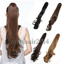 Drawstring Long Clip In Curly Body Wavy Hair Extensions Piece Ponytail Pony Tail