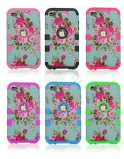 Flowers Hybrid Impact Rubber Silicone Hard Case Cover For iPod Touch 4 4th Gen