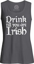 Drink till you are Irish (White) Womens Muscle Tank-Top T-Shirt
