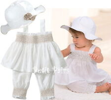 New BabyGirls Kid Ruffle TopPants+Hat Set Outfit Clothes Costume 0-24M Whit 3Pcs