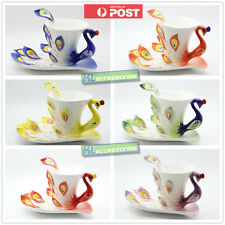 3 PCS Set Porcelain Enamel China Peacock Coffee Cup Tea Cup Saucer Spoon Set