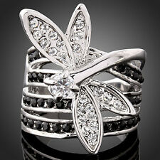 Ladies Lovely Dragonfly Austrian Crystal 18k White Gold GP Ring US Size 6 7 8 9