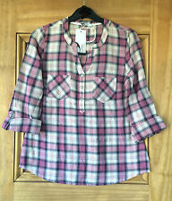Bhs Petites New Pink  / White Check Shirt Top Blouse 8 -20 Bnwot