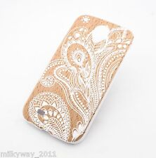 V12 VENEER WOOD CASE COVER FOR Samsung Galaxy S4 HENNA WHITE FLORAL PAISLEY ohm