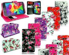 NEW FLOWER LEATHER FLIP BOOK WALLET POUCH CASE COVER FOR MOBILE PHONE MODELS