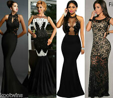 Women LONG BLACK NUDE LACE MAXI DRESS.PROM WEDDING EVENING GOWN SIZE6-8-10-12-14