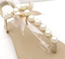 WOMENS Sandals FLATS Pearl Beads THONGS Shoes Wedding Brides BEACH Ankle Strap
