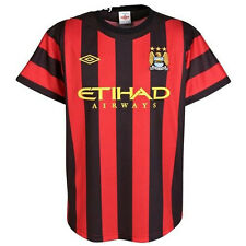 Manchester City Umbro adults away short sleeve red black football shirt 2011-12