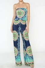 Palazoo Pants Sexy Strapless Navy Blue Tribal Hippies 70's Tall Jumpsuit S M L