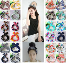 Flower Rabbit Bunny Ear Ribbon Wire Headband Scarf Tie Head Bow Hair Accessories