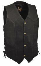 Men's Black Denim Side Lace Biker Vest w/ Classic Snap Front Design Motorcycle