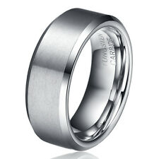 TUNGSTEN CARBIDE SILVER FROSTED Mens WEDDING BAND RING NEVER TARNISH JS040 COOL