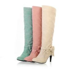 Womens  Plus Size Sweet Candy Suede Bowknot Stiletto High Heel Knee High Boots