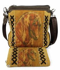 Montana West Paint Horse Purse or Wallet~Tan Western Cowgirl Messenger Bag
