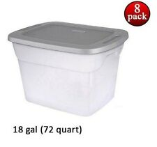 72 Quart Storage Box Set of 8 Container Closet Organizer Plastic Tub PICK COLOR