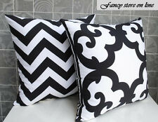 45cm Black & White Geometric / Chevron Cotton Canvas Cushion Cover Double Sided