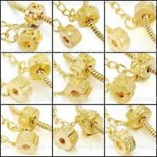 Gold Safety Chain Clip Lock Stopper Clasp Beads Fit Charm Bracelets Murano Mix