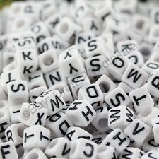 FREE SHIP 100Pcs Acrylic SINGLE LETTER A-Z White Cube ALPHABET Charms BEADS 6MM