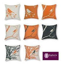 "Euphoria Cushion Covers Pillows Shell Orange Black Shadow Bird Tree 18"" X 18"""