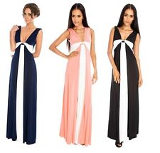 Ladies Grecian Maxi Dress Deep V Neck Full Length Evening Gown Prom Size 8-16