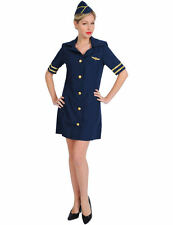Ladies Blue Air Hostess Cabin Crew Stewardess Fancy Dress Costume