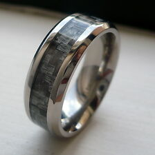 8MM MEN'S TITANIUM GREY CARBON FIBER WEDDING BAND RING SIZE 7-13