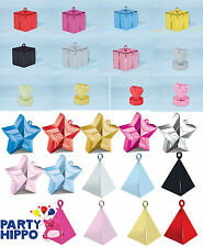Qualatex Balloon Weights Star Heart Diamond Gift Box Designs Blue Pink Silver