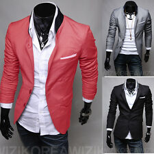 Fashion Casual Slim fit Single-breasted Solid color casual suit men's clothing