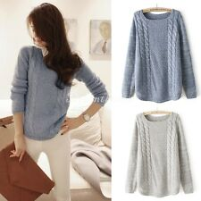 Women Round Neck Weaving Pullover Sweater Jumper Hollow Knitting Cardigan Top DX