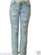NEW Ladies Frayed Ripped Distressed Jeans Blue Denim Women's size 8-16 Acid Wash