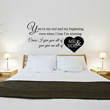 JOHN LEGEND - ALL OF ME SONG LYRICS - WALL STICKER DECAL TRANSFER