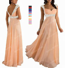 New Beaded Wedding Bridesmaid Formal Gown Prom Ball Evening Dress SP193 L O