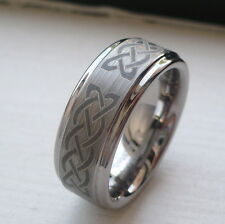 8mm TUNGSTEN CARBIDE MEN'S WEDDING BAND RING BRUSHED FINISH CELTIC KNOTT SZ 7-14