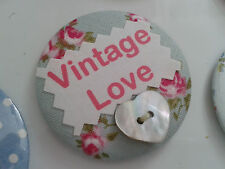 Personalised  Custom fabric & button printed  BADGES, vintage, home sweet, age